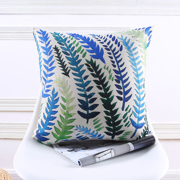 Blue Green Leaves Cushion Cover