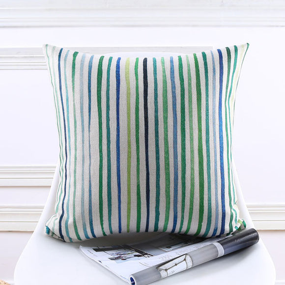 Blue Green Stripes Cushion cover