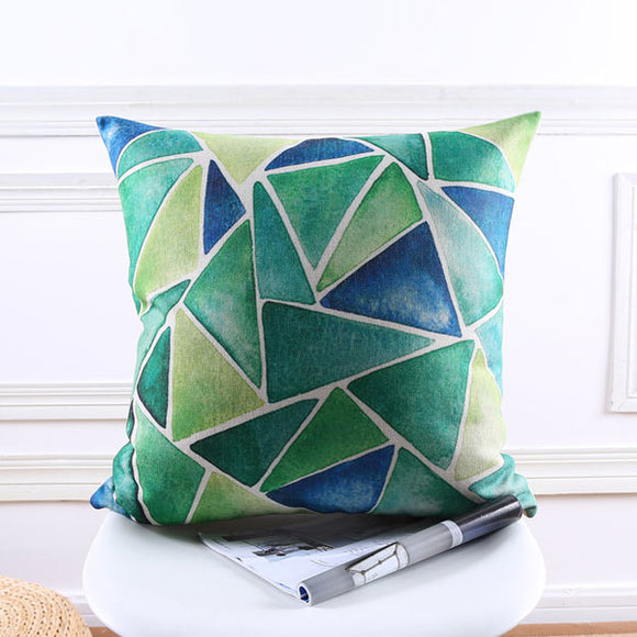 Blue Green Triangles Cushion cover