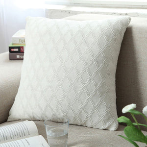 Diamond Knitted Cushion Cover White