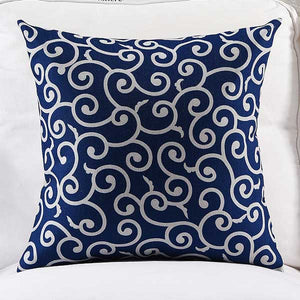Hampton Swirls navy Cushion cover