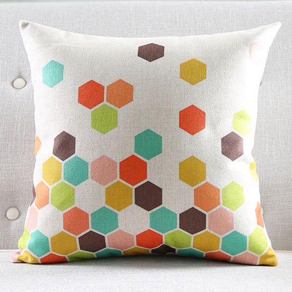 Hexa colourful Cushion cover