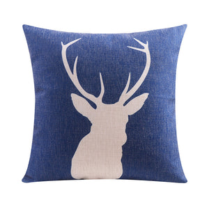 Blue Stag Cushion Cover