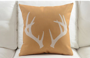 Antlers on Gold Cushion Cover