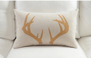 Antler Yellow Rectangle Cushion Cover