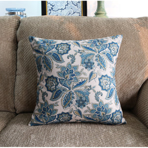 Galaxy Blue Floral Cushion Cover