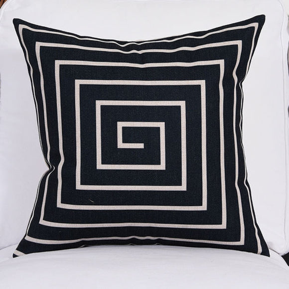 Radial Black Cushion Cover