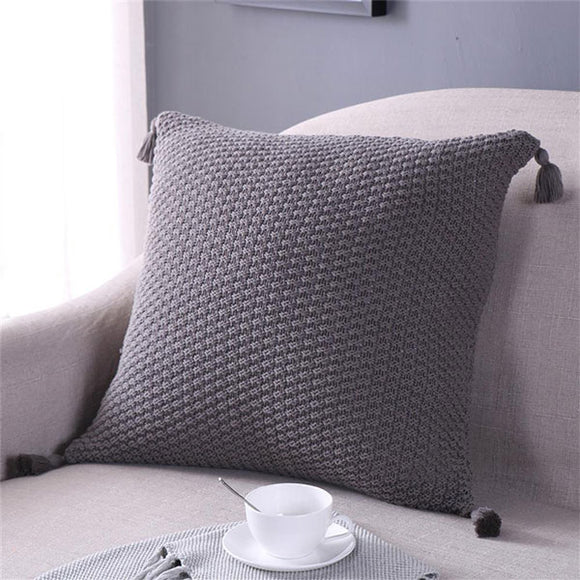 Tassel Knitted Cushion Cover Grey