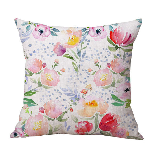 Water Colour Poppies and Lotus cushion cover