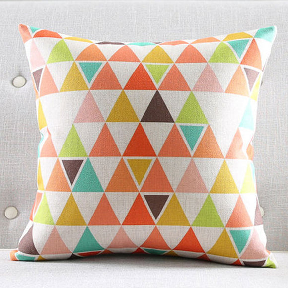 Multi Colour Triangle Cushion Cover