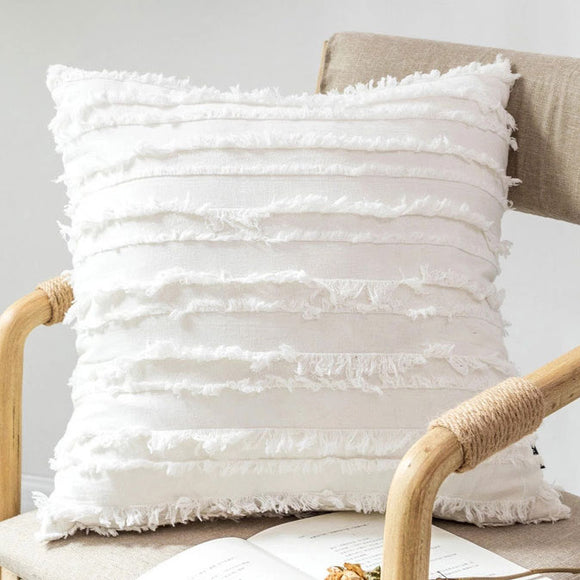Serene White Fringe Boho Cushion Cover