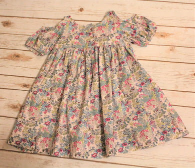 Toddler and Girls Floral Peek-a-boo Shoulder Dress