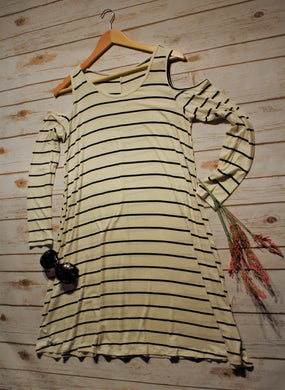 Stripe Cold Shoulder Tunic Dress
