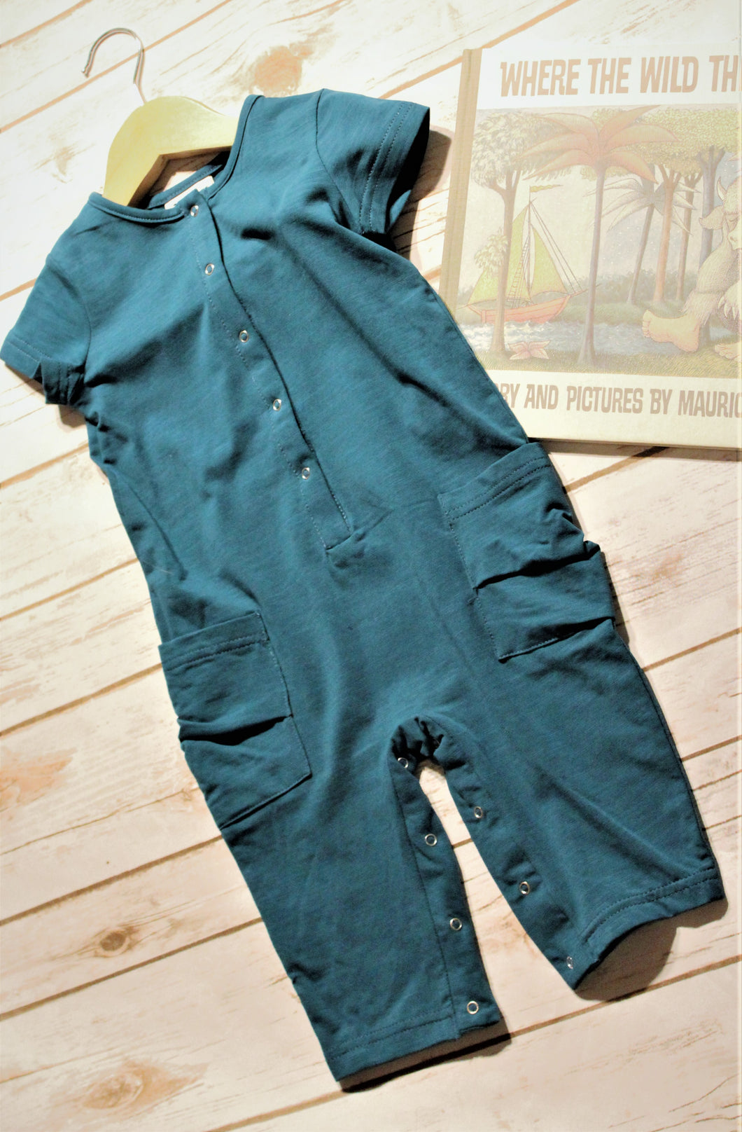 Boys Teal Romper with Pockets