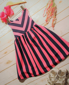 Toddler and Girls Pink & Navy Candy Stripe Dress