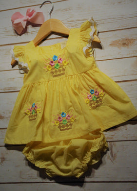 Baby Girl Yellow Angel Sleeve Dress