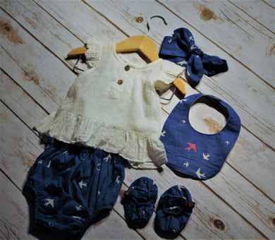 Infant Blue Bird Print Set