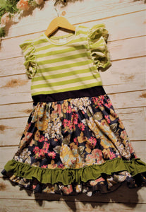 Toddler and Girls Green Ruffle Stripe & Floral Dress