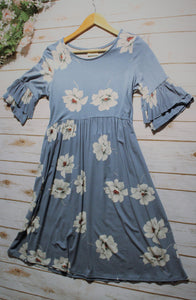 Women's Blue & Floral Print Jersey Dress