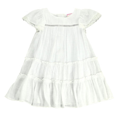 Toddler/ Girls White Angel Sleeve Dress