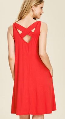 Women's Red Dress with Cross Cross back