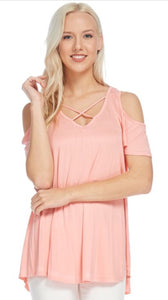 Women's Blush Open Shoulder Tunic