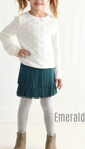 Girls Faux Suede Fringe Skirt