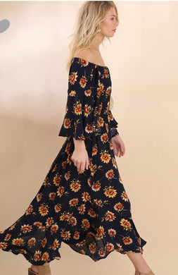 Women's Navy Sunflower Frock