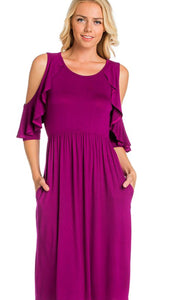 Women's Wine Open Shoulder Dress