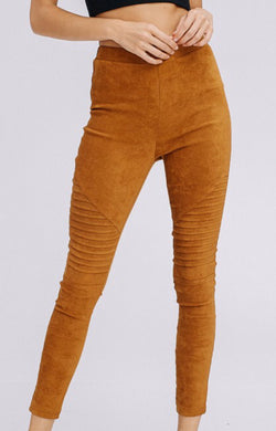 Women's Camel Suede Moto Leggings