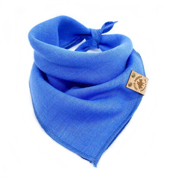 Stonewashed Linen Dog Bandana in Azure Blue