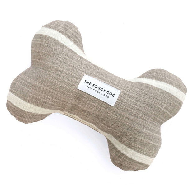 Eco-Friendly Squeaker Dog Toy in Warm Beige and Cream Stripe
