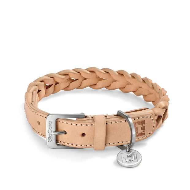 Hand-Braided Leather Collar in Brown - This Dog's Life