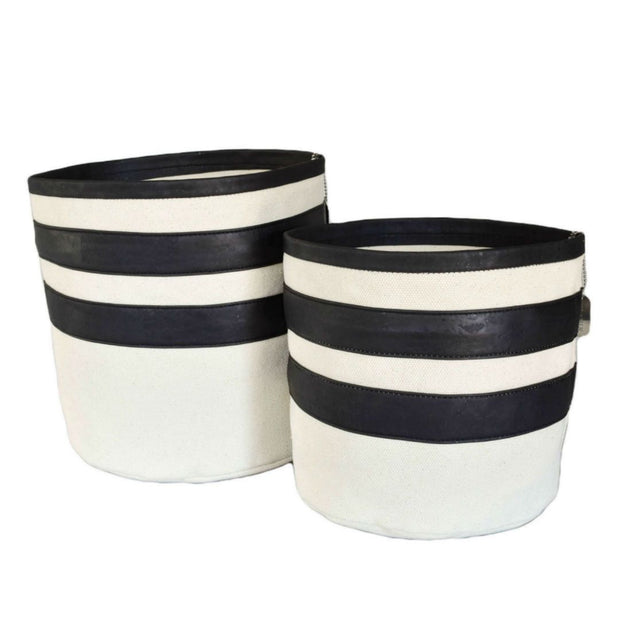 Eco-FriendlyCork and Canvas Striped Dog Toy Bin in Black - This Dog's Life