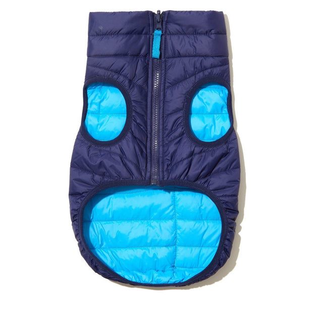 Reversible Water-Resistant Puffer Jacket Vest in Cobalt Blue and Aqua