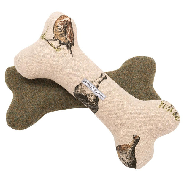 Classic Squeaky Grouse Linen and Forest Green Tweed Dog Bone Bundle