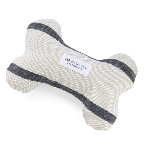Eco-Friendly Squeaker Dog Toy in Chalk White and Charcoal Stripe