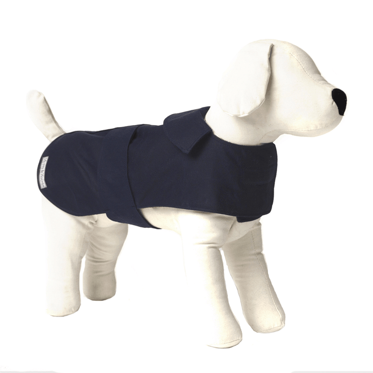Waterproof Waxed Dog Coat in Navy