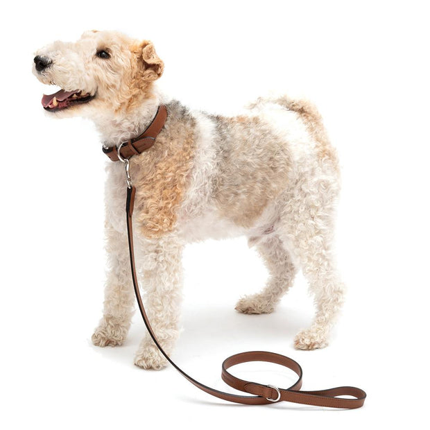 Tan Italian Leather Dog Leash