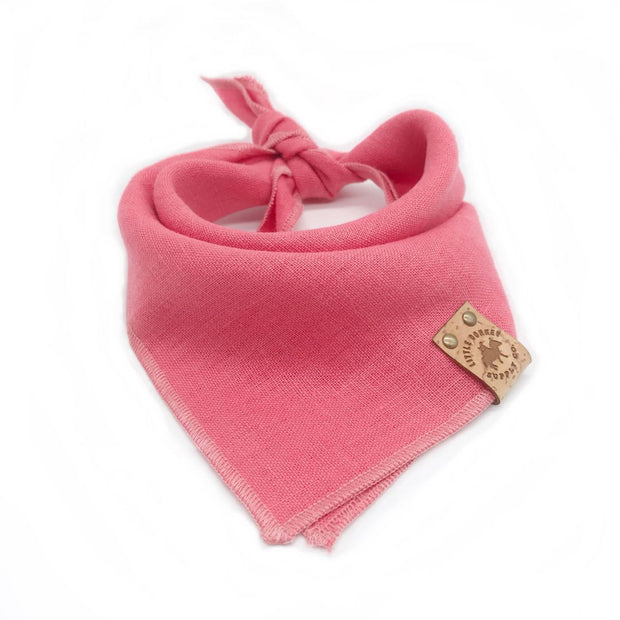 Stonewashed Linen Bandana in Watermelon Pink - This Dog's Life