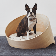 Iconic Circular Wood Dog Lounge in Ash