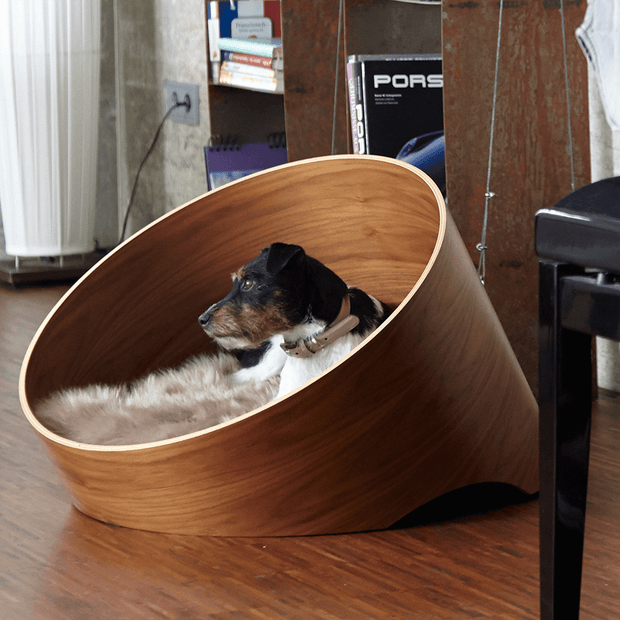 Iconic Circular Wood Dog Lounge in Walnut - This Dog's Life