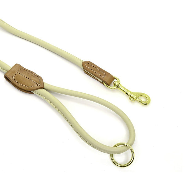 Rolled Leather Leash in Cream - This Dog's Life