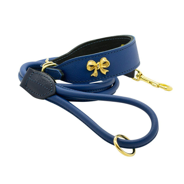 Leather Collar With Gold-Plated Bow and Diamond in Cerulean - This Dog's Life