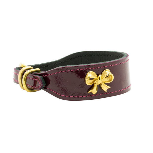 Leather Collar With Gold-Plated Bow and Diamond in Maroon Patent - This Dog's Life
