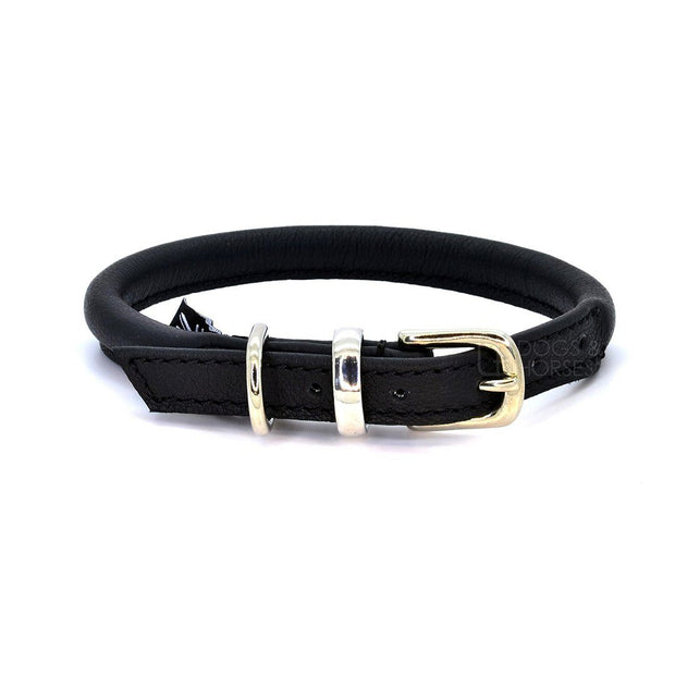 Rolled Leather Leash in Black with Silver Clasp - This Dog's Life