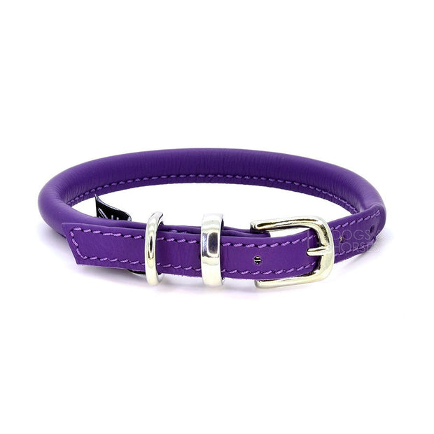 Rolled Leather Collar in Grape - This Dog's Life