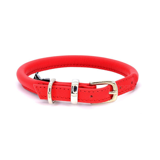 Rolled Leather Collar in Cherry - This Dog's Life