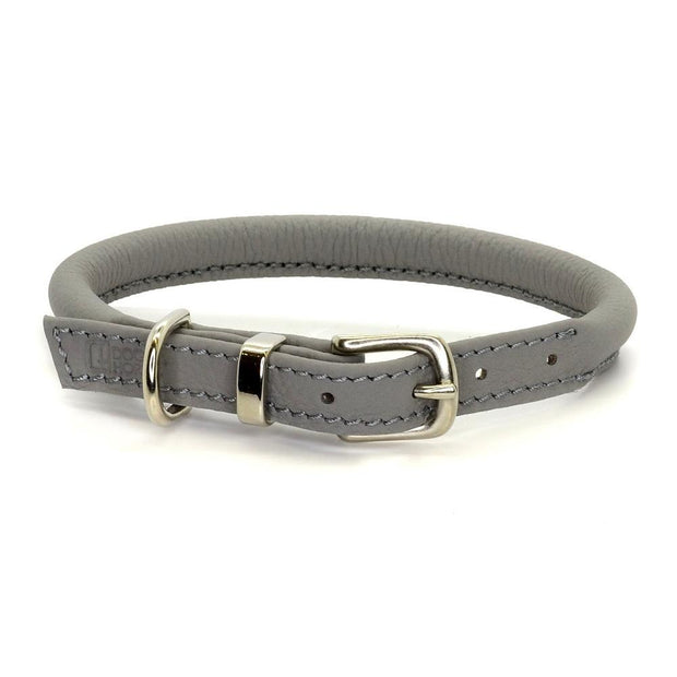 Rolled Leather Collar in Steel - This Dog's Life