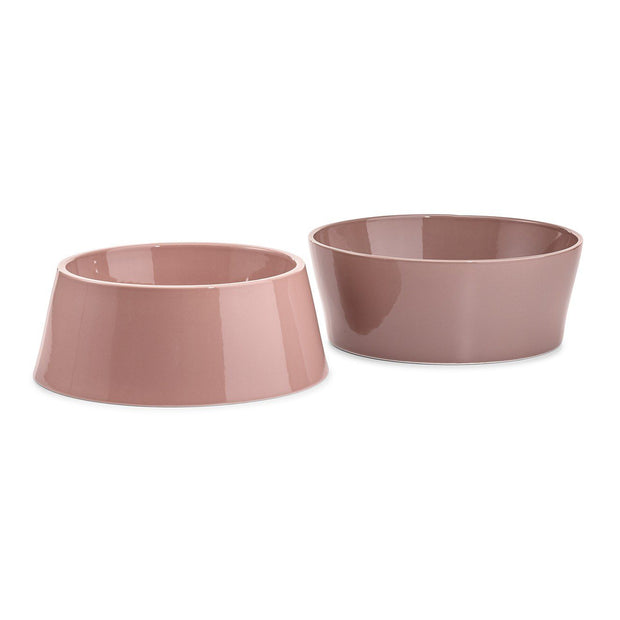Inverted Ceramic Dog Bowl Set in Berry Red